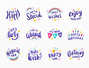 Variety of happy birthday set