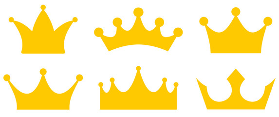 Crown simple icons collection vector