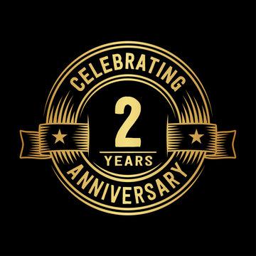 2 years anniversary celebration logotype. Vector and illustration.