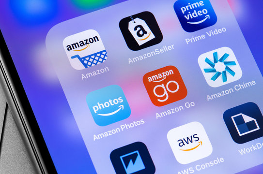 Amazon Go icon app, services on the screen smartphone closeup. Amazon Go is a online retailer of stores in the United States. Moscow, Russia - November 23, 2019