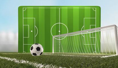 soccer football ball wtih soccer field and goal 3d-illustration