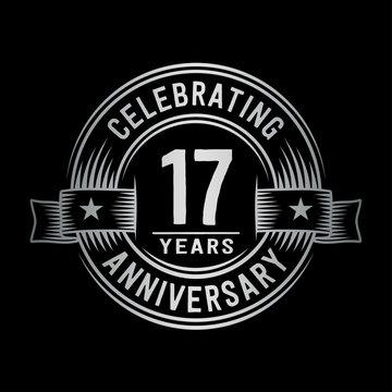 17 years anniversary celebration logotype. Vector and illustration.