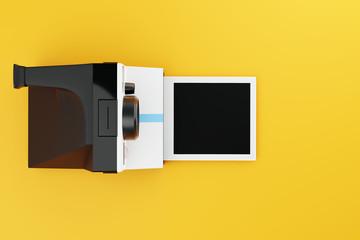 Classic Instant Camera with Film On Yellow Studio 3D CGI