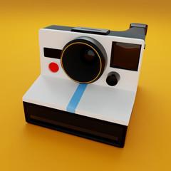 Classic Instant Camera On Yellow Studio 3D CGI