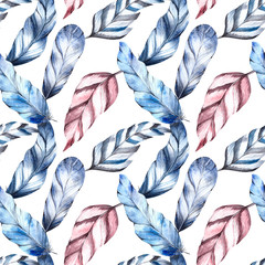 Seamless pattern, feathers, watercolor painting, delicate colors