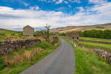 Rural road and some stone barns in the Upper Wensleydale near Hawes, North Yorkshire, England, UK