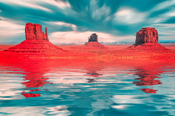 Fotorolgordijn Rood Monument Valley fantasy in red and turquoise