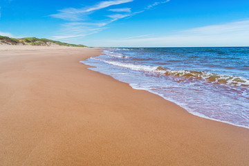 A wide expanse of beach at Greenwich in the Prince Edward Island National Park, Canada..
