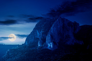 rock formation on the field at night. beautiful rural landscape in mountains. wonderful scenery in spring. clouds on the blue sky in full moon light. forest on the hills