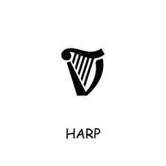 Harp flat vector icon