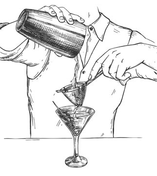 Martini cocktail making process