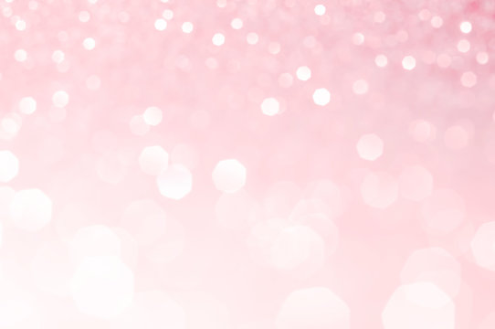 Light pink bokeh,circle abstract light background,Pink shining lights, sparkling glittering Valentines day,women day or event lights romantic backdrop.Blurred abstract holiday background.