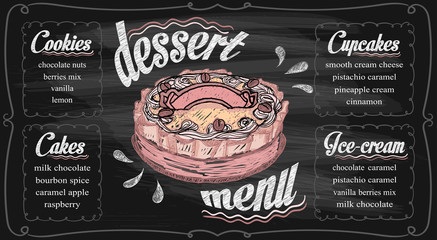 Chalk dessert menu template on a chalkboard - cupcakes, cakes, ice-cream and cookies.