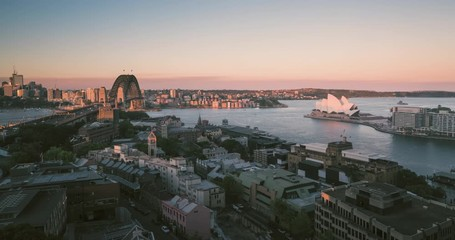 Foto En Lienzo - Aerial view of Sydney with Harbour Bridge and the Opera House, Australia