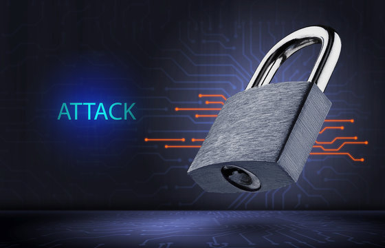 concept of a hacker attack on information and computer systems.