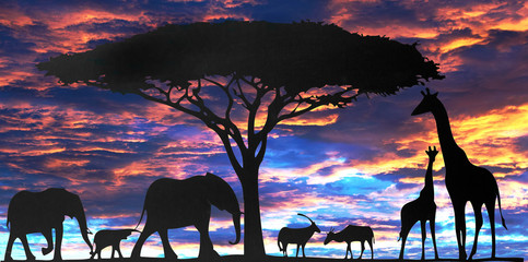 Composite African safari scene with a sunset background.  Silhouette of black animated animals against a sunset background
