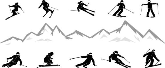 Ski Driver Winter Sport Vector Silhouette