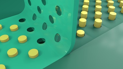 3D rendering of a flexible perforated tape that fits on a set of vertical columns, cylinders. The ribbon is green, translucent with many holes. Unusual abstract background of geometric objects.