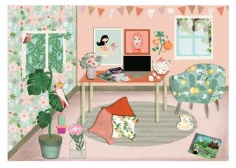 Illustration of a dream pink workspace studio.
