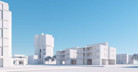 Miniature city model, regular street view. 3D render Wall mural