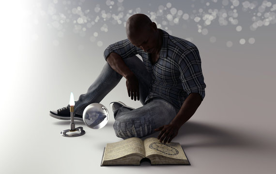 wizard sitting on the floor with crystal ball and spell book