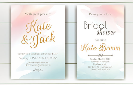Set of vector delicate invitations with abstract background for wedding, marriage, bridal shower, birthday,