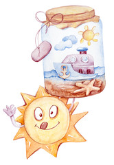 Hand painted watercolor cute sea clipart. Sun with bottle isolated on white. Lovely baby...