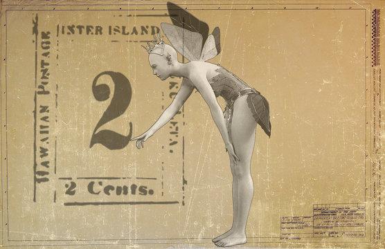 A winged fairy princess on a vintage postcard