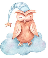 Watercolor hand painted cute dreaming owl on a cloud. Lovely illustration on white background.