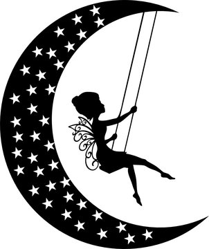 Fairy Moon on The Swing with starts and fairy SVG Cut File Cricut and Silhouette file Vector