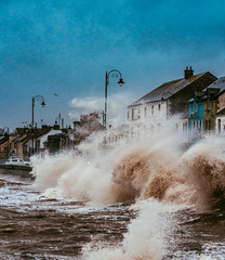 Storm Brendan hits Ireland. Photo taken in Blackrock Villag, Co Louth 13th January 2020..Dark sky, heavy rain and huge powerfull waves lash over the sea.