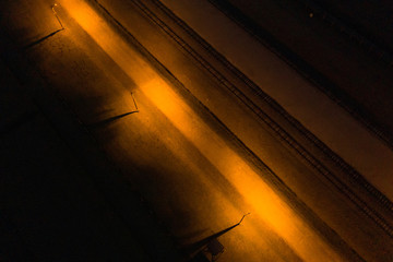 An aerial picture shows railway track at  former Nazi German Auschwitz-Birkenau concentration camp complex in Oswiecim