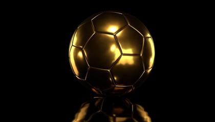 Golden socer ball on black background