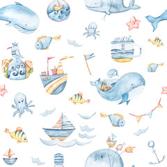 Watercolor hand painted sea life illustration. Seamless pattern on white background. Whale, fish, wave collection. Perfect for textile design, fabric, wrapping paper, scrapbooking