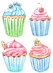 Watercolor set with cupcakes. Cute collection. Perfect for wallpaper, scrapbooking, wrapping paper, wedding decoration