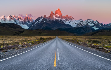 Beautiful Alpine Glow / first light on Mount Fitz Roy viewed from Road to El Chalten