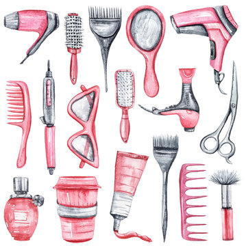 Hand painted watercolor beauty salon set. Scissors, glasses, comb, hair dryer, hair dye, curling iron isolated on white. Perfect for pattern, beauty salon logo, poster, print, beauty blog