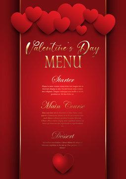 Valentines Day elegant menu design