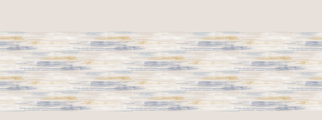 Grey french linen vector broken wave stripe border texture seamless pattern. Brush stroke grunge abstract banner background. Country farmhouse style textile. Irregular distressed wavy striped trim
