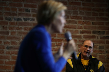 Democratic 2020 U.S. presidential candidate and U.S. Senator Elizabeth Warren (D-MA) speaks at a campaign town hall meeting in Newton