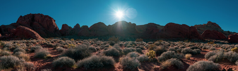 Foto op Plexiglas Blauwe jeans USA, Clark County, Nevada. A panorama of Red Rock Canyon State Park