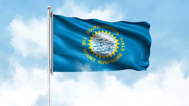 South Dakota Flag Waving with Clouds Sky Background