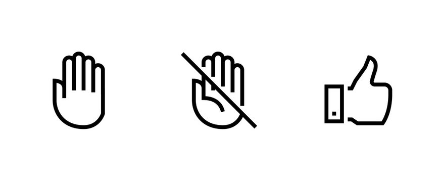 Hand, Palm Don't Touch, Thumb Up icons