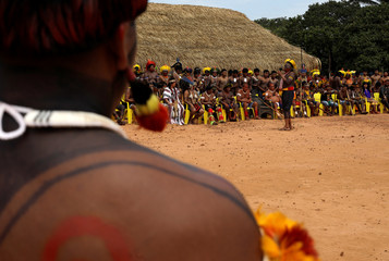 Indigenous leader Cacique Raoni of the Kayapo tribe speaks during a four-day pow wow near Sao Jose do Xingu