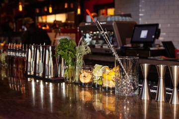 Moody restaurant bar at night