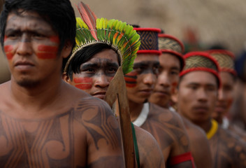 Indigenous men of Yudja tribe are pictured during a four-day pow wow near Sao Jose do Xingu Grosso