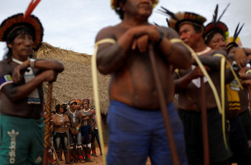 Indigenous men of Suya tribe and Yudja tribe are pictured during a four-day pow wow in Piaracu village near Sao Jose do Xingu