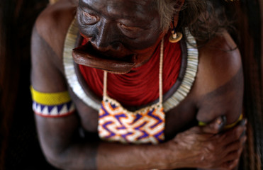 Indigenous leader Cacique Raoni of Kayapo tribe is pictured during a four-day pow wow in Piaracu village, in Xingu Indigenous Park, near Sao Jose do Xingu, Mato Grosso state