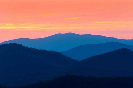 Blue Ridge mountains from Parkway in NC