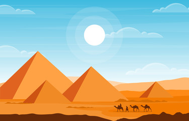 Door stickers Pool Camel Caravan Crossing Egypt Pyramid Desert Arabian Landscape Illustration